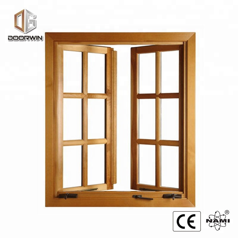 American standard wood aluminum frame crank open window with grill design and mosquito net by Doorwin