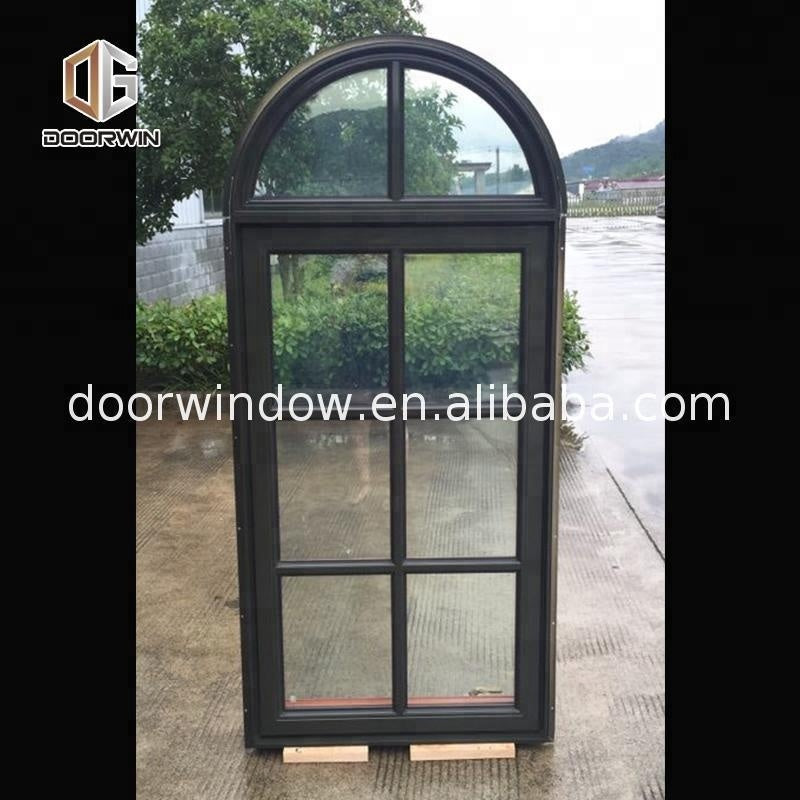 Arch Wood Grain Aluminium Swing Window Sound proof crank top hinged awning Round Windows by Doorwin on Alibaba