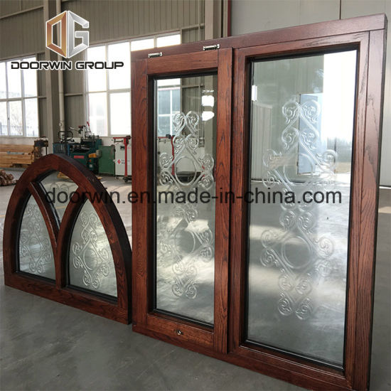 Arched Fixed Transom Awning Window with Carved Glass - China House Windows, Double Glazed Windows