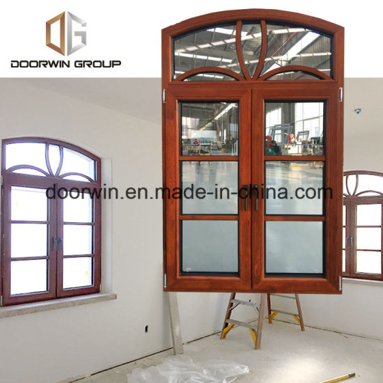 Arched Thermal Break Aluminum Window with Oak Wood Cladding - China Fixed Round Window, Round Top Windows