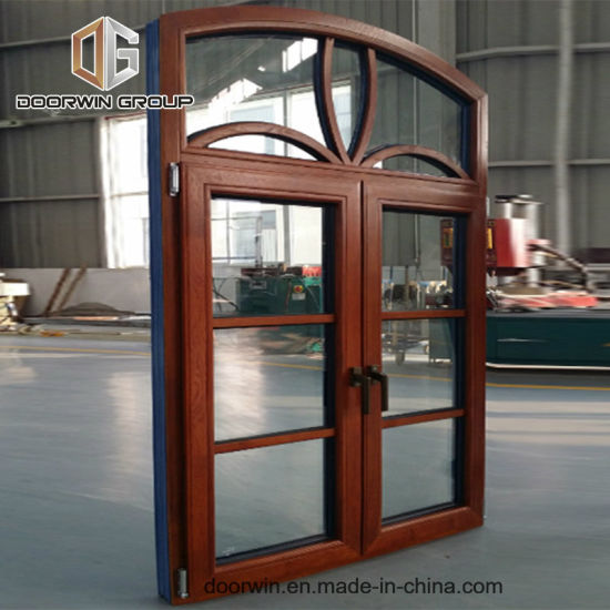 Arched Thermal Break Aluminum Window with Wood Cladding From Inside, Casement French Window with Grill Design - China Wood Window Design, Arch Windows