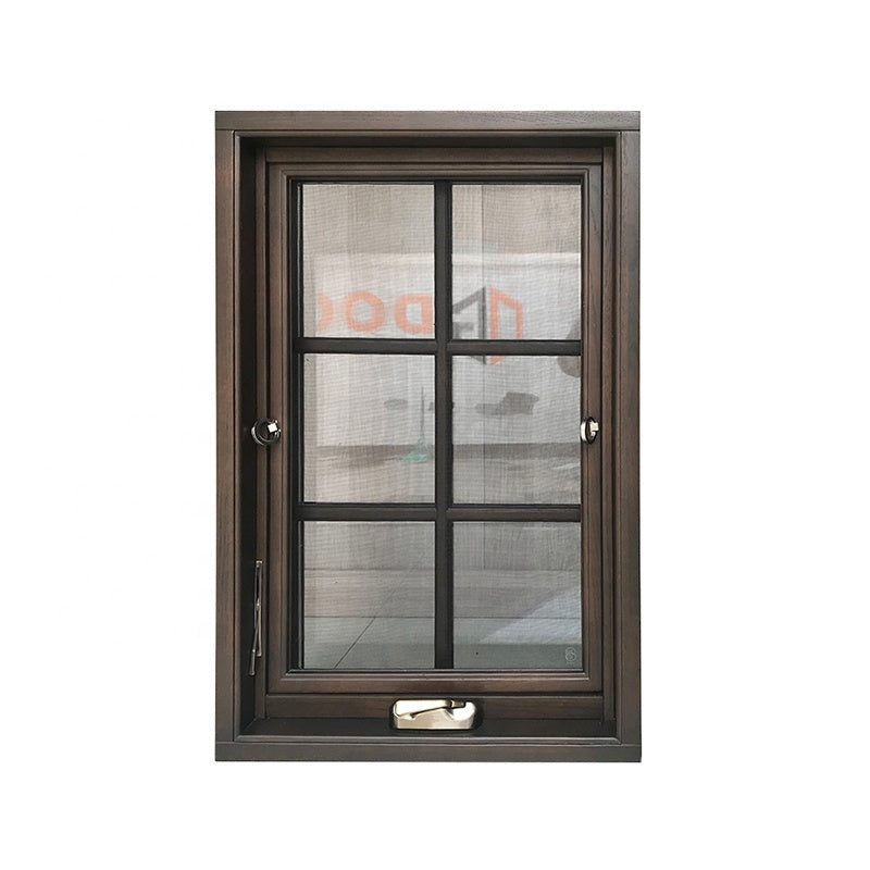 Black oak alu wood 3 glass crank casement windows
