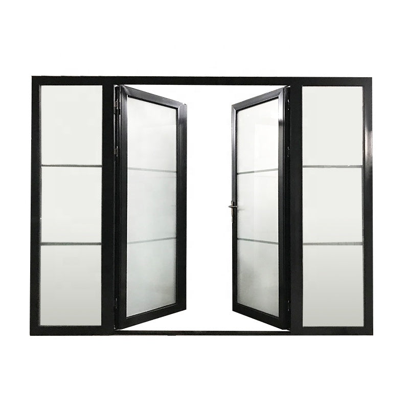 Black powder coated Color frosted tempered glass insert Thermal Break Aluminum hinged French door aluminum profile door by Doorwin