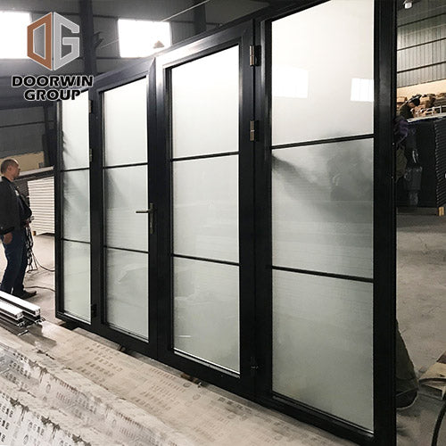Black powder coated Color Thermal Break Aluminum hinged French door-01