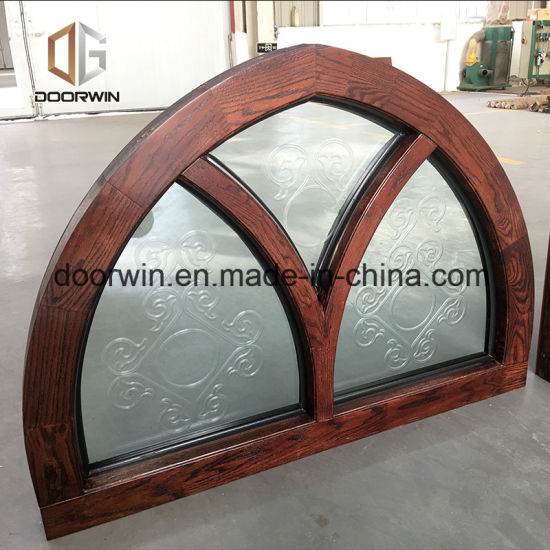 Carved Glass Awning Window with Arched Fixed Transom - China Fixed Glass Windows, Fixed Panel Window
