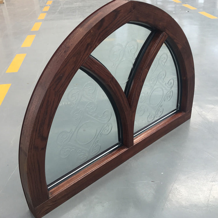 Customized Specialty Shapes Design Arc Top Oak Wood Window Frame with Carved Glass by Doorwin