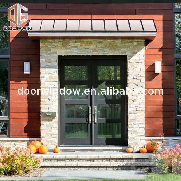 Double swing door fixed glass leaf with tempered glazed casement by Doorwin on Alibaba