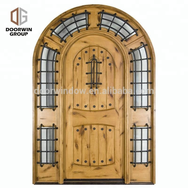 Exterior wood front doors iron wrought door with aluminum adjustable threshold in oil rubbed bronze finish by Doorwin