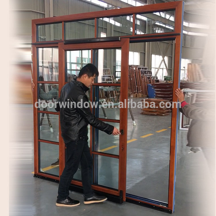 Factory direct price external wooden sliding doors exterior door with transom window entry
