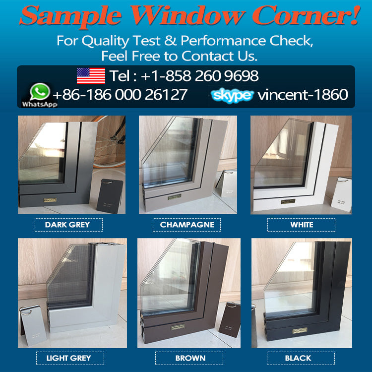 Factory high quality general aluminum windows frosted glass awning window double glazing