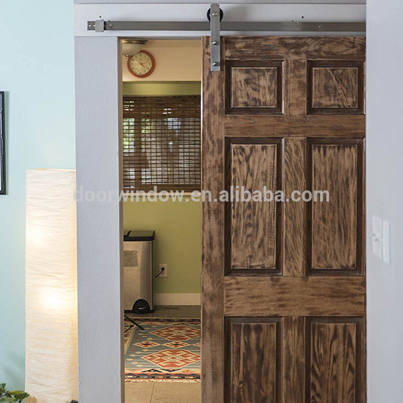 Fancy interior doors red oak wooden barn sliding door with stainless steel hardware by Doorwin