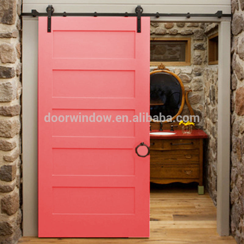 Fashion Design pink paint color pine larch cherry wood High Quality Wooden Fairy sliding barn Door by Doorwin