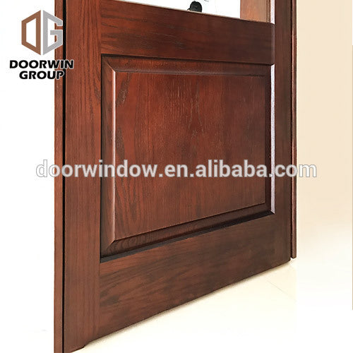 French door glass inserts float clear tempered casement exterior wood front doors by Doorwin on Alibaba