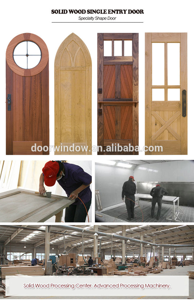 2018 Hot sell teak wood doors exterior front doors knotty alder pine larch single entrance wood door entry by Doorwin