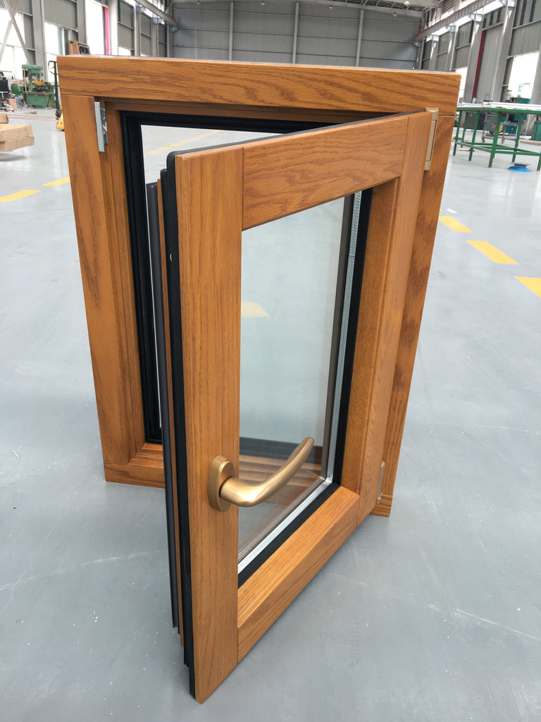HOT SALE TILT TURN WINDOW OAK WOOD WITH EXTERIOR ALUMINUM CLADDING
