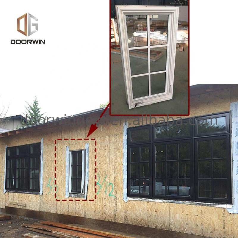 Las Angels oak wood timber low-e glass crank casement window with grille inserts by Doorwin on Alibaba