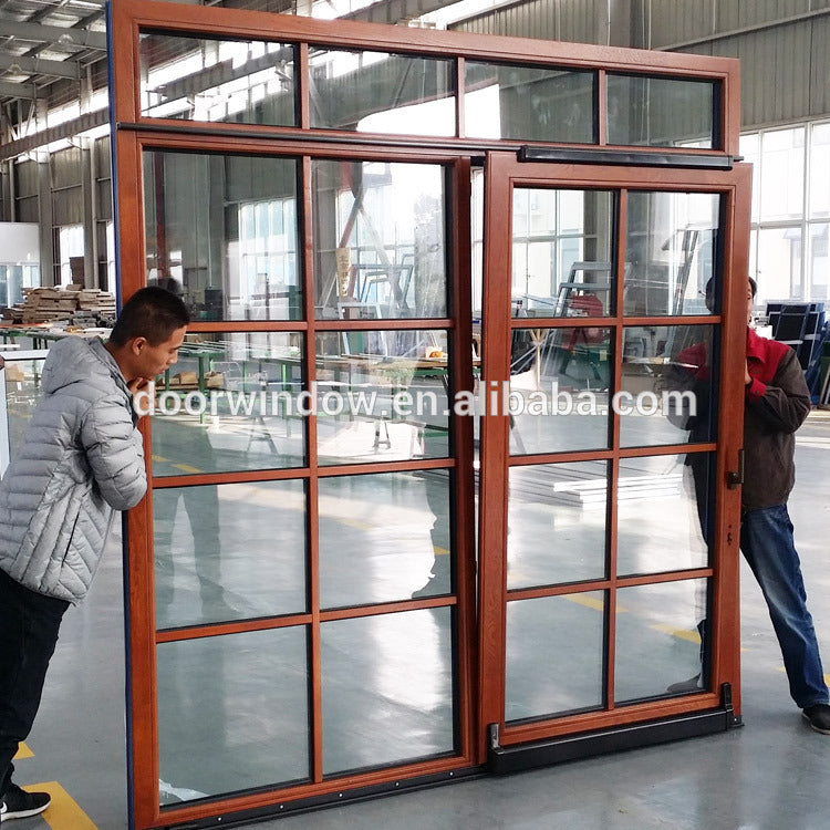 Lattice door latest glass design laminated tempered hinged by Doorwin on Alibaba