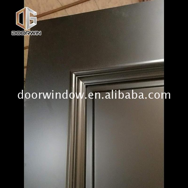 Low price interior wood door with frosted glass panel timber doors 3