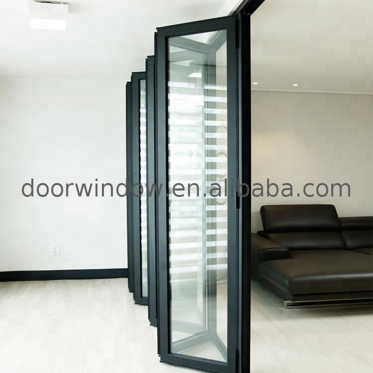 Modern black thermal break aluminum exterior glass folding door bi fold doors by Doorwin on Alibaba