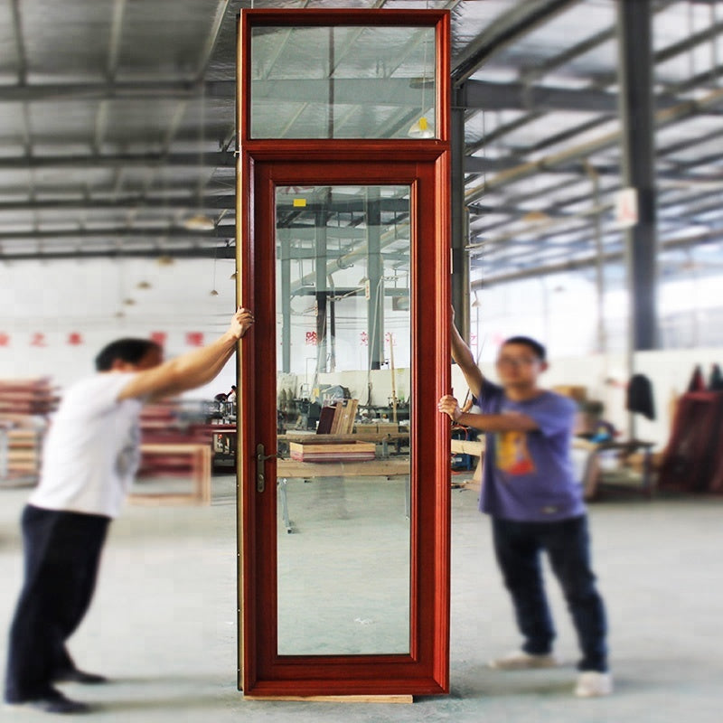 NewYork Wood framed glass wood exterior doors with transom by Doorwin on Alibaba