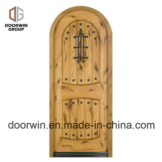 North America Popular Front French Doors Round Top Design with Decorative Wrought Iron Clavos - China Front French Doors, Round Top Design Doors