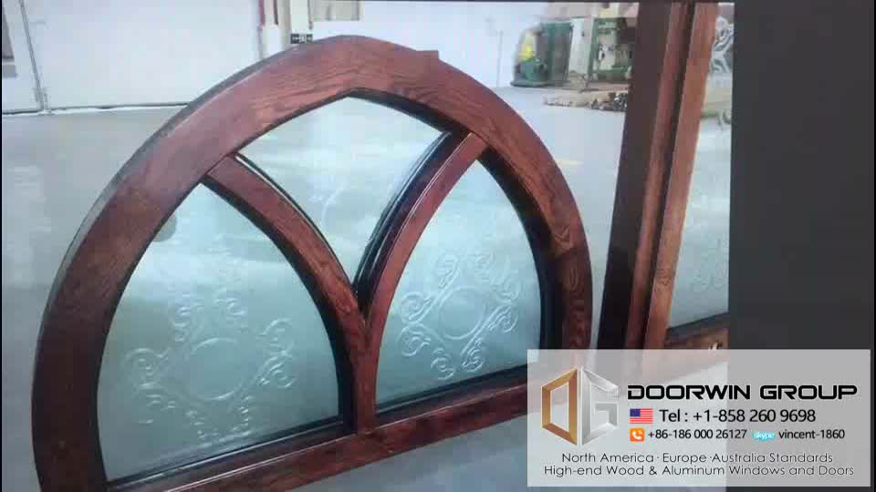 Doorwin Fantastic Arched Oak Wood Windows with Carved Glass