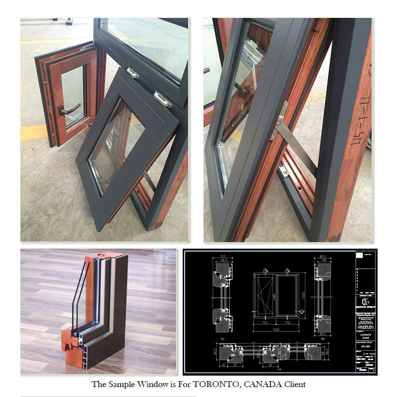 Original factory 16x36 window aluminum awning windows with manual blinds double tempered glass
