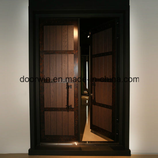 Red Oak Wood Entrance Door with Old Copper Decoration - China Hinged French Doors, Kitchen Entry Doors
