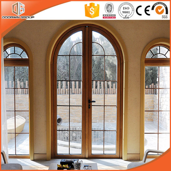 Round-Top Casement Window with Full Divided Light Grillen Glass Window Imported Solid Larch Wood Fixed Window - China Wooden Window, Wood Casement Window