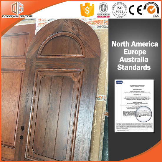 Round-Top Solid Red Oak Wood French Door for California Villa - China Wooden Door, Interior Door