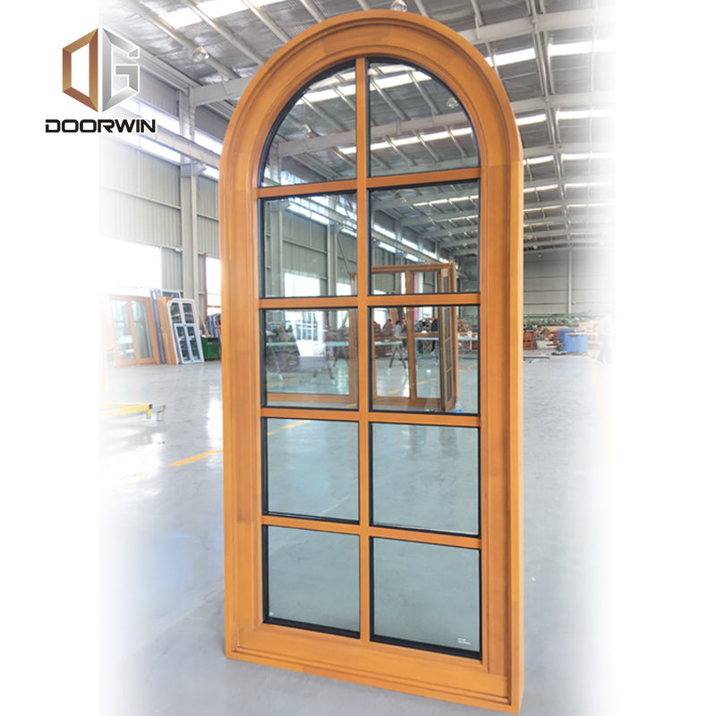 San Francisco industrial wood window arched top fixed windows