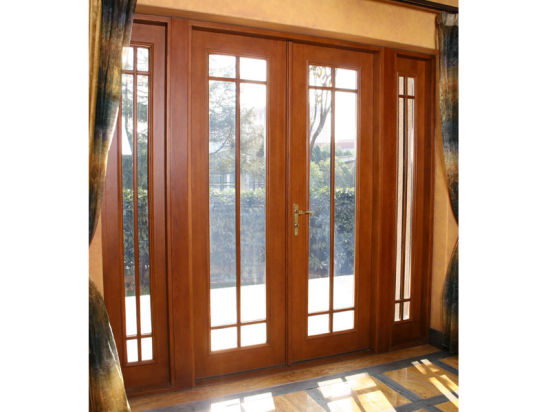 Solid Oak/Larch Wood Aluminum French Door - China Composite Door, Wood French Door