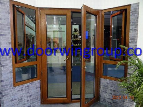 Solid Teak/Oak/Larch/Pine Timber Aluminum French Door, American Style Solid Wood Aluminium French Door - China Timber Door, Timber French Door