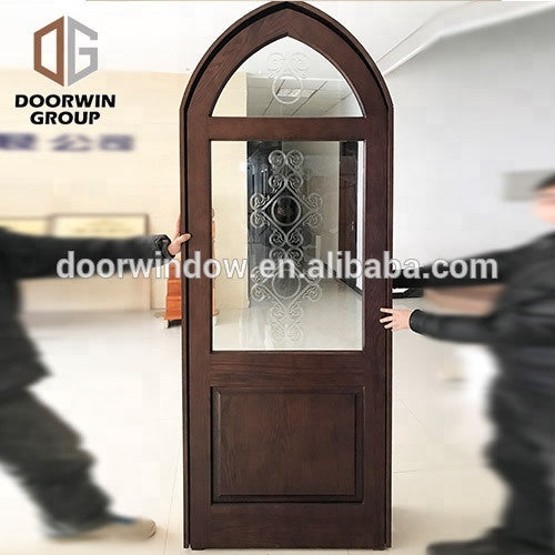 Solid wood front door with top glass and grilles design entry door for home by Doorwin