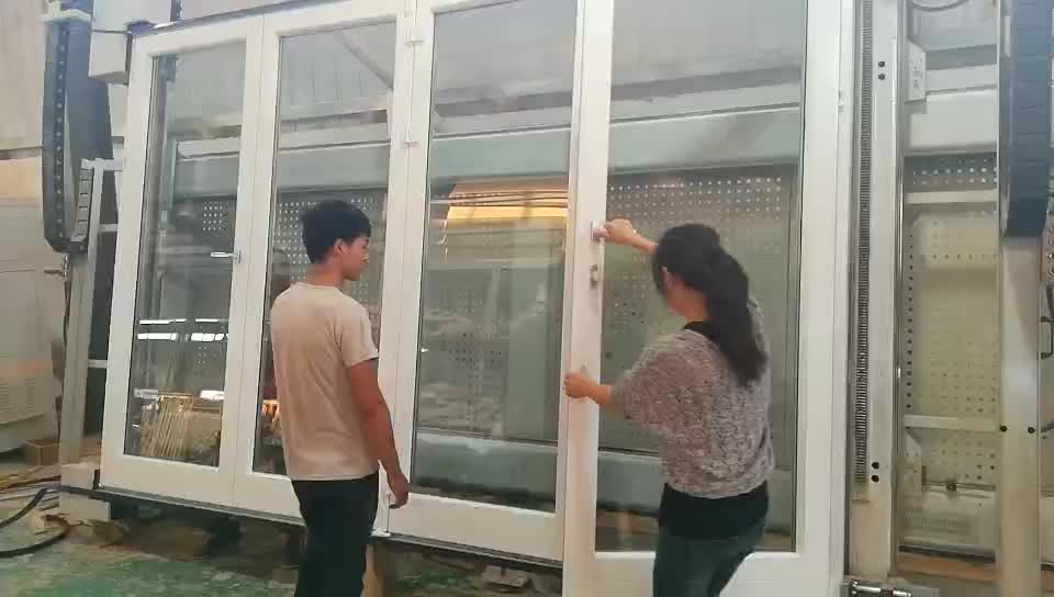 Thermal break aluminum BI-folding double glazing tempered glass doors White patio door with integral blinds shutterby Doorwin