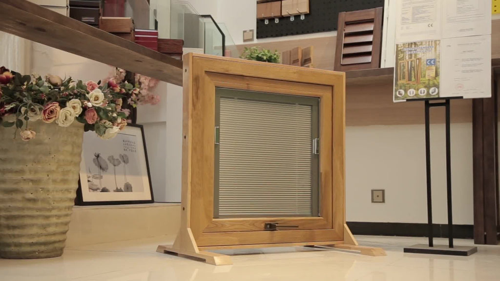 shutter components wooden awning window by Doorwin on Alibaba