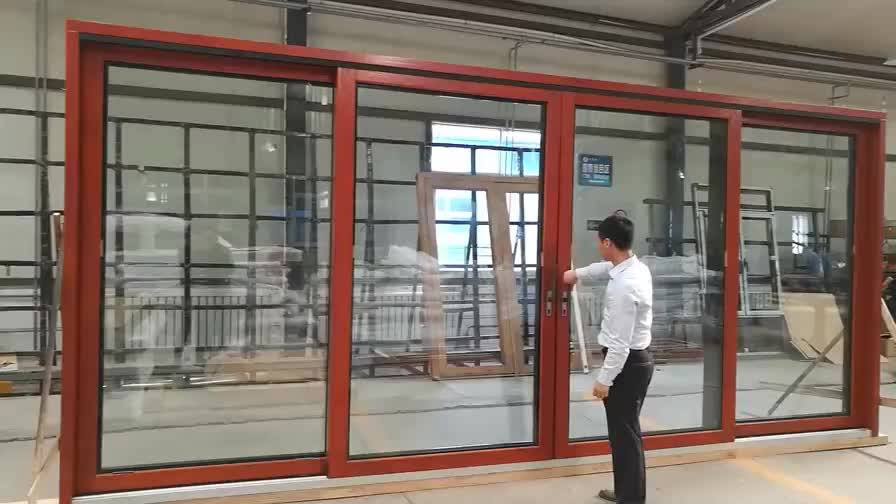 Vancouver Sound proof sliding aluminum storefront glass doors with weather seal strip by Doorwin on Alibaba