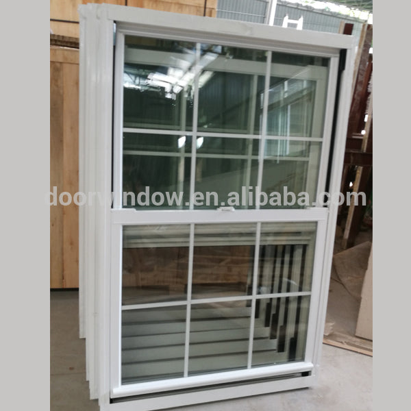 Wholesale price aluminum window frames 3D wood grain finishing double hung window with handle by Doorwin