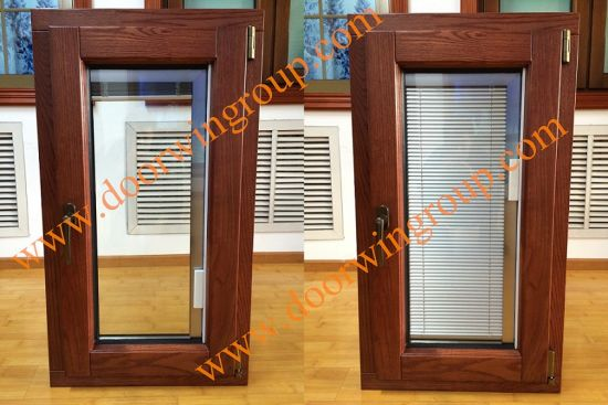 Wood Aluminum Window with Internal Shutters, Aluminium Windows with Solid Wood Cladding (Built-In Shutter) - China Aluminium Window, Wood Window
