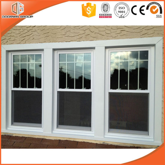 Wood Clad Aluminum Double Hung Window, Wooden Window Frames Designs with Full Divided Light Grille - China Aluminum Awning Window, Aluminum Window