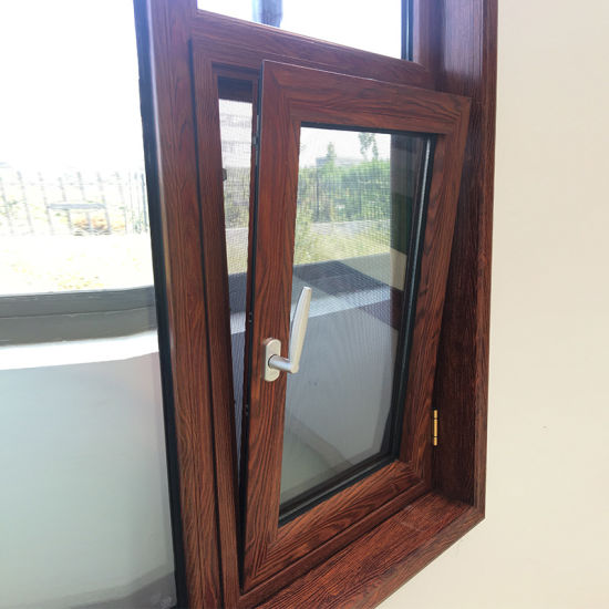 Wood Color Finishing Thermal Break Aluminum Casement Window Tilt Turn Window - China Aluminum Window, Aluminium Casement Window