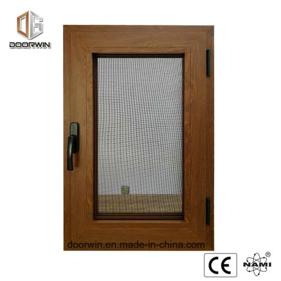 Wood Grain Aluminum Window with Burglar Proof Screen - China Casement Inward Opening Window, 2 Glass Wood Windows