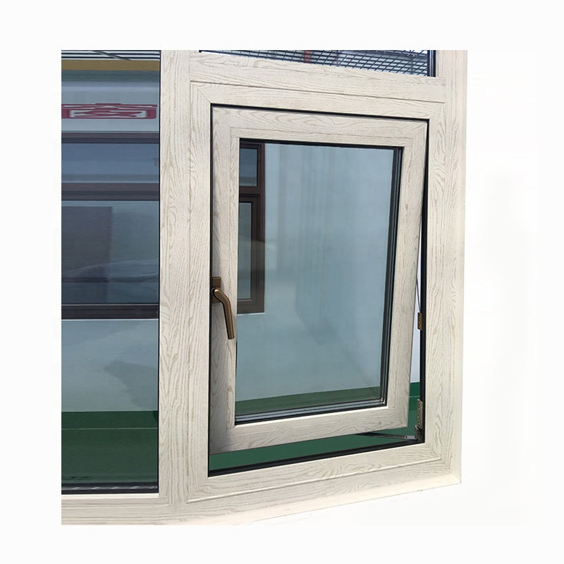 Wood grain color awning window aluminum casement windows