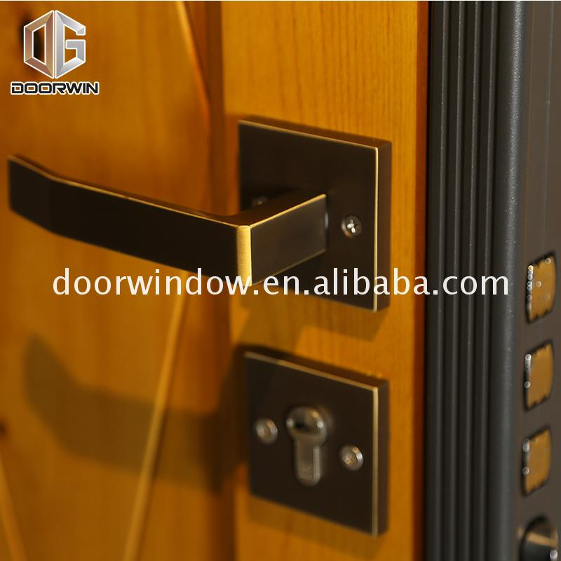 Wooden entry doors double panel design catalogue by Doorwin on Alibaba