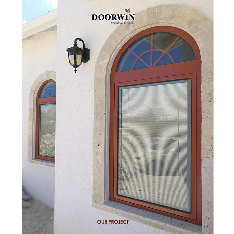 Arched Top Window with built-in shutter grills design pictures grilles grill-iron photos by Doorwin on Alibaba- ARCHITECT SERIES