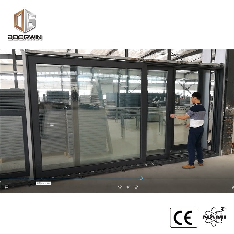 aluminium commercial automatic double glazed glass sliding glass doors by Doorwin on Alibaba