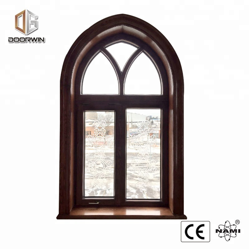 arched oak woodframe carved glass pitcure window wooden sash windows by Doorwin