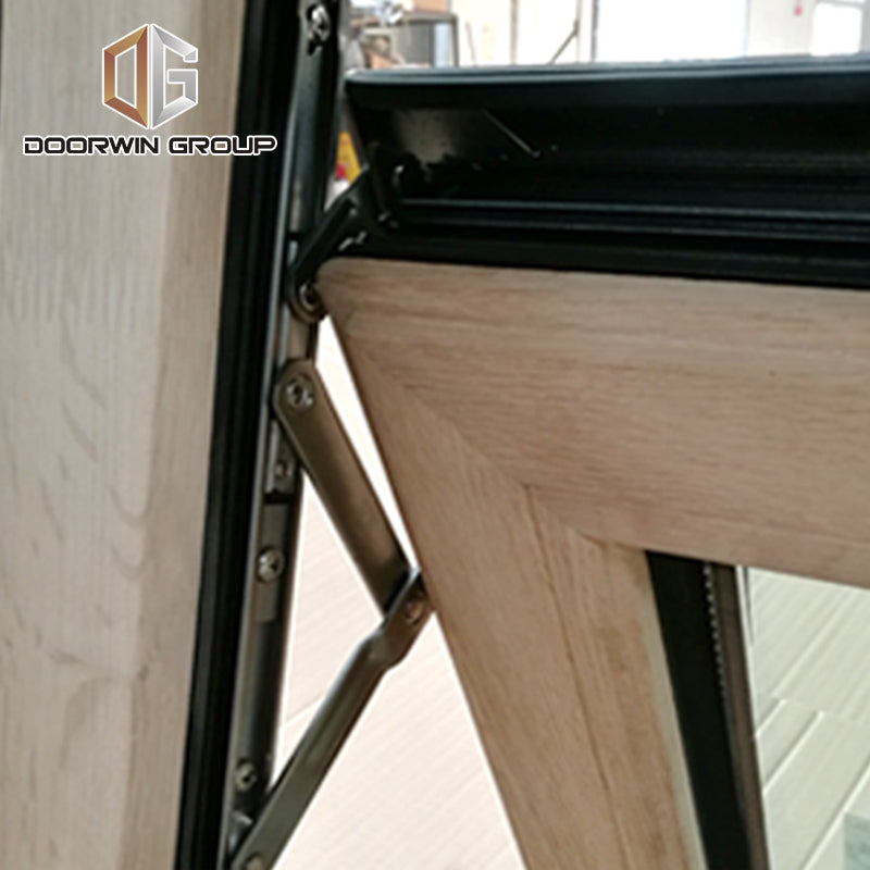 Red oak wood clad aluminum push out casement window