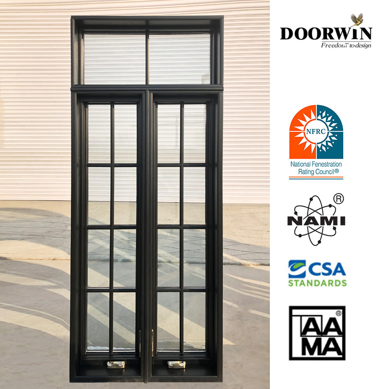 wholesale American House Solid Wood Glass-Window-Grill-Design Swing Out Crank Casement Window with Mosquito Net