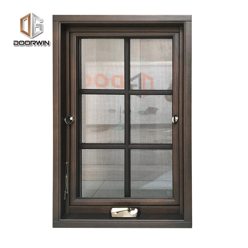 Non finger-jointed timber frame with powder coated aluminum cladding crank open window